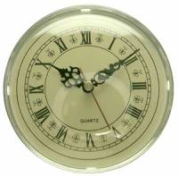 "Clock Repair & Replacement Parts - Movements, Motors, Rotors, Fit-Ups & Related - 130mm (5-1/8"") Silver Bezel with Ivory Roman Dial Quartz Fitup (Insert)"