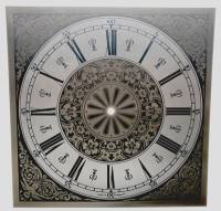"Clock Repair & Replacement Parts - 11"" Square Roman Etched Brass Dial"
