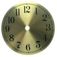 "Metal Dials - Round Aluminum & Heavy Metal Backed Dials - 5"" Round Brushed Brass Arabic Aluminum Dial"