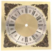"""Clock Repair & Replacement Parts - Dials & Related - 7-13/16"""" Fancy Square Roman Dial with 6-1/8"""" Time Track"""