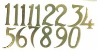 Dials & Related - Numeral Sets, Minute  & Hour Markers, Bar & Dot Sets - 25mm Brass Plated Aluminum Arabic Number Set