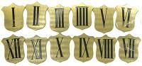 Numeral Sets, Minute  & Hour Markers, Bar & Dot Sets - Roman Numeral Sets - Brass Shield 37mm Roman Numeral Set