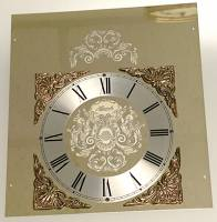 Clock Repair & Replacement Parts - Dials & Related - Hermle Gold Etched Rectangular Dial
