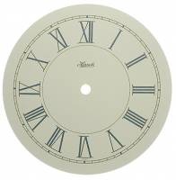 "Metal Dials - Round Aluminum & Heavy Metal Backed Dials - Hermle Ivory Roman 6-13/16"" Dial With 5-7/8"" Time Track"