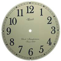 "Metal Dials - Round Aluminum & Heavy Metal Backed Dials - Hermle Ivory Arabic 9-1/8"" Dial With 8-5/8"" Time Track"