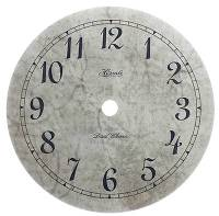 "Metal Dials - Round Aluminum & Heavy Metal Backed Dials - Hermle 5-3/8"" Mottled Gray Quartz Arabic Dial"