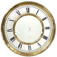 "Clock Repair & Replacement Parts - 7-7/8"" Hermle Regulator Roman Dial, Pan, Bezel Assembly"