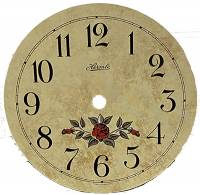 "Metal Dials - Round Aluminum & Heavy Metal Backed Dials - Hermle Flowered 5-3/8"" Ivory Arabic Dial"