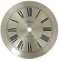 "Metal Dials - Round Aluminum & Heavy Metal Backed Dials - Hermle 4-7/8"" Brushed Silver Roman Dial"