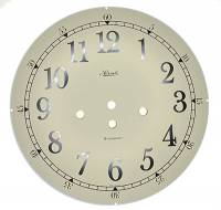 "Metal Dials - Round Aluminum & Heavy Metal Backed Dials - Hermle 10-1/8"" (257mm) Ivory Arabic Westminster Dial"
