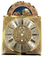 Metal Dials - Arch Dials, Moon Dials and Discs - Hermle Tall Case Moon Phase Arabic Brass Dial
