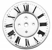 "Dials & Related - Porcelain Dials - CHINA-12 - 4-3/4"" Porcelain Roman 2-Pc. Dial"