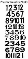 Transfers & Transfer Tools - Numerals, Hour & Minute Marker Transfers - PHX -TR-29 - Black Arabic Numerals Transfer  PT413