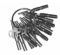 Clock Keys, Winders, Cranks & Related - Double End Keys - TS-19 - Double End Brass Clock Key 16-Piece Assortment