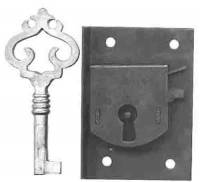 "Doors & Parts - Locks & Keys - TT-11 - Large Door Lock 1-3/4"" Wide"