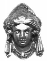 "TT-11 - 2-9/16"" Metal Lady Head Ornament"