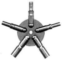 Clock Keys, Winders, Cranks & Related - Multi-Prong Keys - TT-19 - Even Sizes Brass 5-Prong Key (4-6-8-10-12) American Sizes