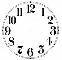 "Paper Dials - Paper Dials - Without Trademarks - Timesaver - 3-3/4"" Antique Arabic Plain White Dial"