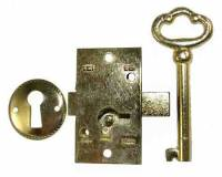 "Doors & Parts (Locks, Keys, Latches, Etc.) - Locks & Keys - Door Lock & Key Set - 1-3/4"" x 1"" -Brass"