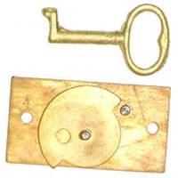 "Case Parts - Doors & Parts (Locks, Keys, Latches, Etc.) - Door Lock & Key Set For Terry - 1-5/8"" x 7/8"" - Brass"