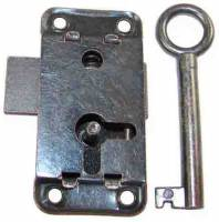 "Doors & Parts (Locks, Keys, Latches, Etc.) - Locks & Keys - Door Lock & Key Set - 2"" x 1"" - Blackened Steel"