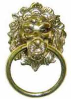 """Case Parts - Lions Heads - Lion Head 1-7/8"""" With Ring - Brass"""