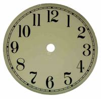 "Metal Dials - Round Aluminum & Heavy Metal Backed Dials - 7-13/16"" Ivory Aluminum Arabic Dial"