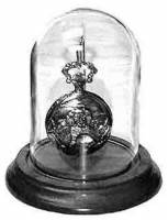 "Display Items - Glass Watch Display Dome With Oak Base 3"" X 4-1/2"""