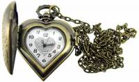 Clocks, Watches, Timers, Weather Instruments - Pendant Watch - Antique Gold Heart