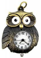 Clocks, Watches, Timers, Weather Instruments - Pendant Watch - Antique Gold Owl