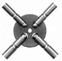 Clock Keys, Winders, Cranks & Related - Multi-Prong Keys - Even Sizes Brass 4-Prong Key (#4-6-8-10) Swiss Sizes