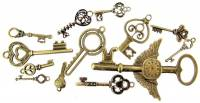 Novelty Items - 13-Piece Bronzed Key Charm Assortment