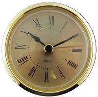 "Quartz Movements, Hardware and Tools - Fit-Ups (Also called Clock Inserts) - 63mm (2-1/2"") Roman Gold Dial Fitup"