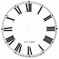 """Paper Dials - Paper Dials - With trademarks - SHIPLEY-12 - 4-1/2"""" Seth Thomas Roman Ivory Dial"""