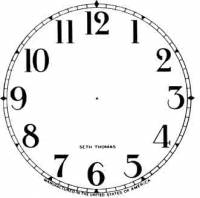 """Paper Dials - Paper Dials - With trademarks - SHIPLEY-12 - 4-1/2"""" Seth Thomas Arabic Ivory Dial"""