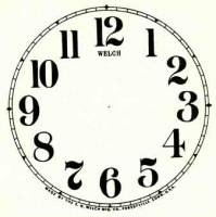 """Paper Dials - Paper Dials - With trademarks - SHIPLEY-12 - 5"""" Welch Arabic Dial-Ivory"""