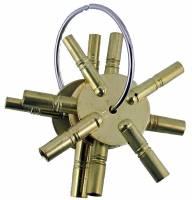 Clock Keys, Winders, Cranks & Related - Multi-Prong Keys - 4-Prong 2-Piece Brass Key Assortment  Swiss Sizes