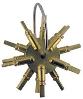 Clock Keys, Winders, Cranks & Related - Key Gauges - TT-19 - 4 Prong Brass Key Gauge  3-Piece Assortment American Sizes