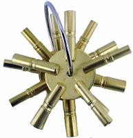 Clock Keys, Winders, Cranks & Related - Multi-Prong Keys - Timesaver - 5 Prong Brass Key 2-Piece Assortment  Swiss Sizes