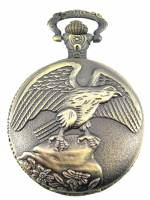 Clocks, Watches, Timers, Weather Instruments - Brass Plated Eagle Pocket Watch