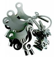 Clock Keys, Winders, Cranks & Related - Single End Standard Wing Keys - Nickel Plated Brass Key 18-PieceAssortment - Swiss Sizes