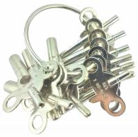 Clock Keys, Winders, Cranks & Related - Double End Keys - Economical 12-Piece Double End Key Assortment 2.50mm to 5.25mm Large End & 1.75mm Small End