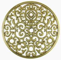 """Dials & Related - Dial Related Items - 5-1/2"""" Cast Metal Brass Finish Dial Mask"""