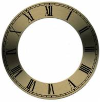 "Clock Repair & Replacement Parts - Dials & Related - Brass Finish Dial Chapter Ring  5"" OD x 3-3/8"" ID"