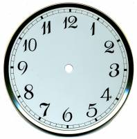"Clock Repair & Replacement Parts - Dials & Related - 6-3/8"" Stylized Arabic Dial/Pan Combo With 5-3/4"" Time Track"